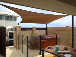 Shade sail over outdoor entertaining area